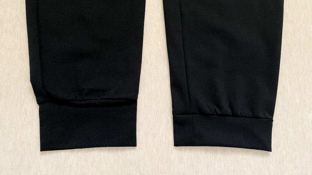 ウルトラストレッチアクティブジョガーパンツの裾リブを比較