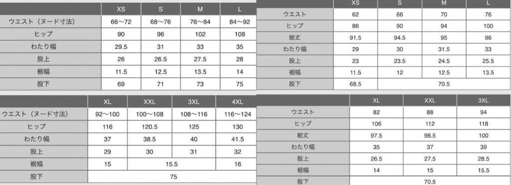 ウルトラストレッチアクティブジョガーパンツのサイズ表を比較